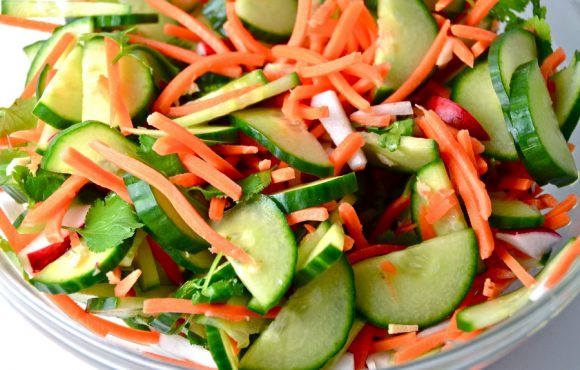 Nutty carrot & cucumber salad